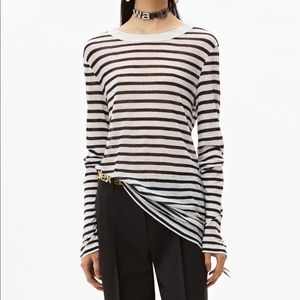 ALEXANDER WANG • Sheer Slub Striped White Tee Top
